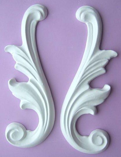 White Rose – Gips Stuck Ornament – 17,5 mal 6 cm